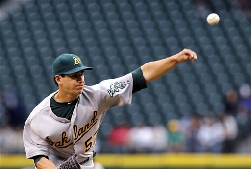 Oakland Athletics starting pitcher Tommy Milone throws against the Seattle Mariners in the second inning of a baseball game, Monday, June 25, 2012, in Seattle. (AP Photo/Elaine Thompson)