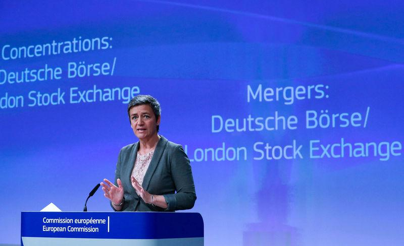 European Competition Commissioner Vestager holds a news conference after EU antitrust regulators blocked the proposed merger of Deutsche Boerse and the London Stock Exchange, in Brussels