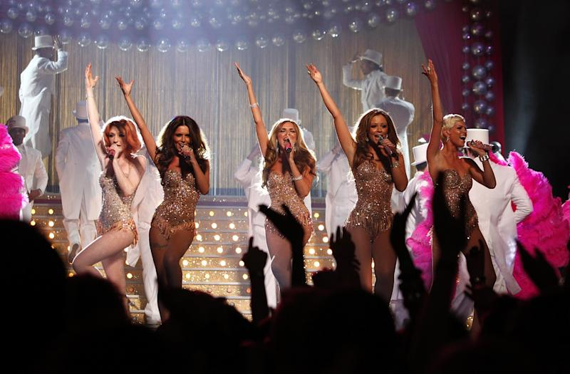 Girls Aloud perform on stage, during the BRIT Awards, at Earls Court, central London, SW5.