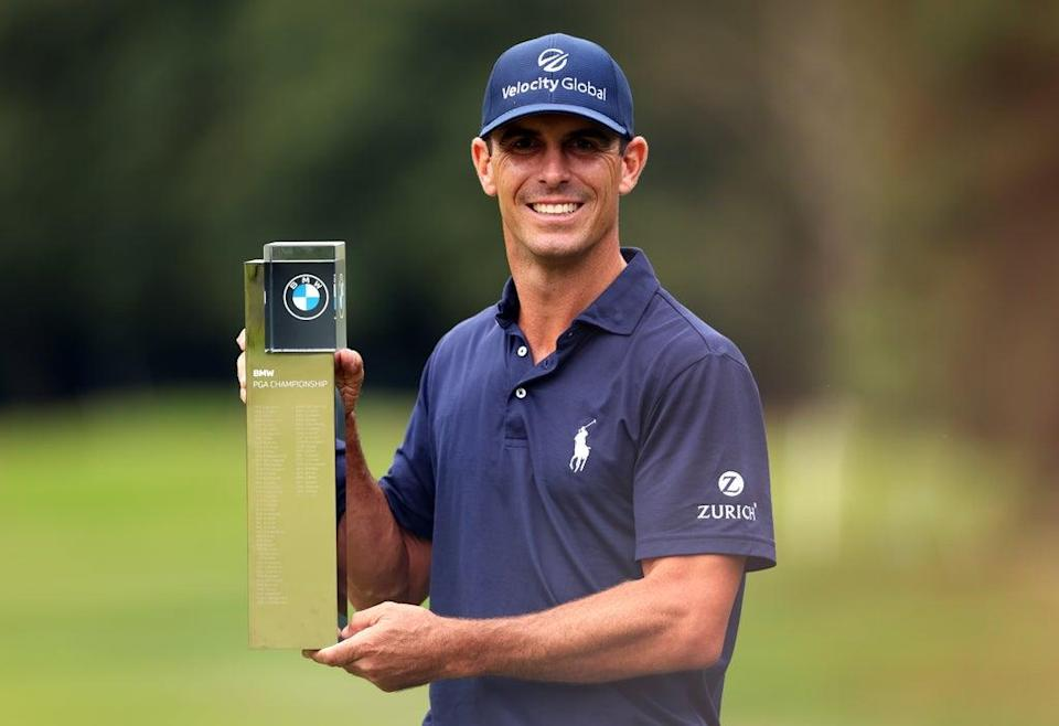 Billy Horschel lifts the trophy after winning the BMW PGA Championship at Wentworth (Steven Paston/PA) (PA Wire)