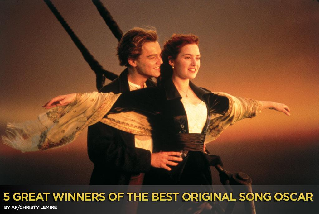 "It's been stuck in my head for weeks like a psychotic episode: ""My Heart Will Go On,"" Celine Dion's big, bombastic ballad from ""Titanic."" Now that James Cameron has finally released the 3-D redo of his 1997 shipwreck epic — the winner of 11 Academy Awards, including best original song — it still won't go away. It goes on ... and on ... <br><br>But we're all about turning a negative into a positive around here, so we're using this as an opportunity to talk about five other great winners of the best original song Oscar. There are dozens to choose from so you'll have some favorites of your own, but these are sure to keep you humming along:"