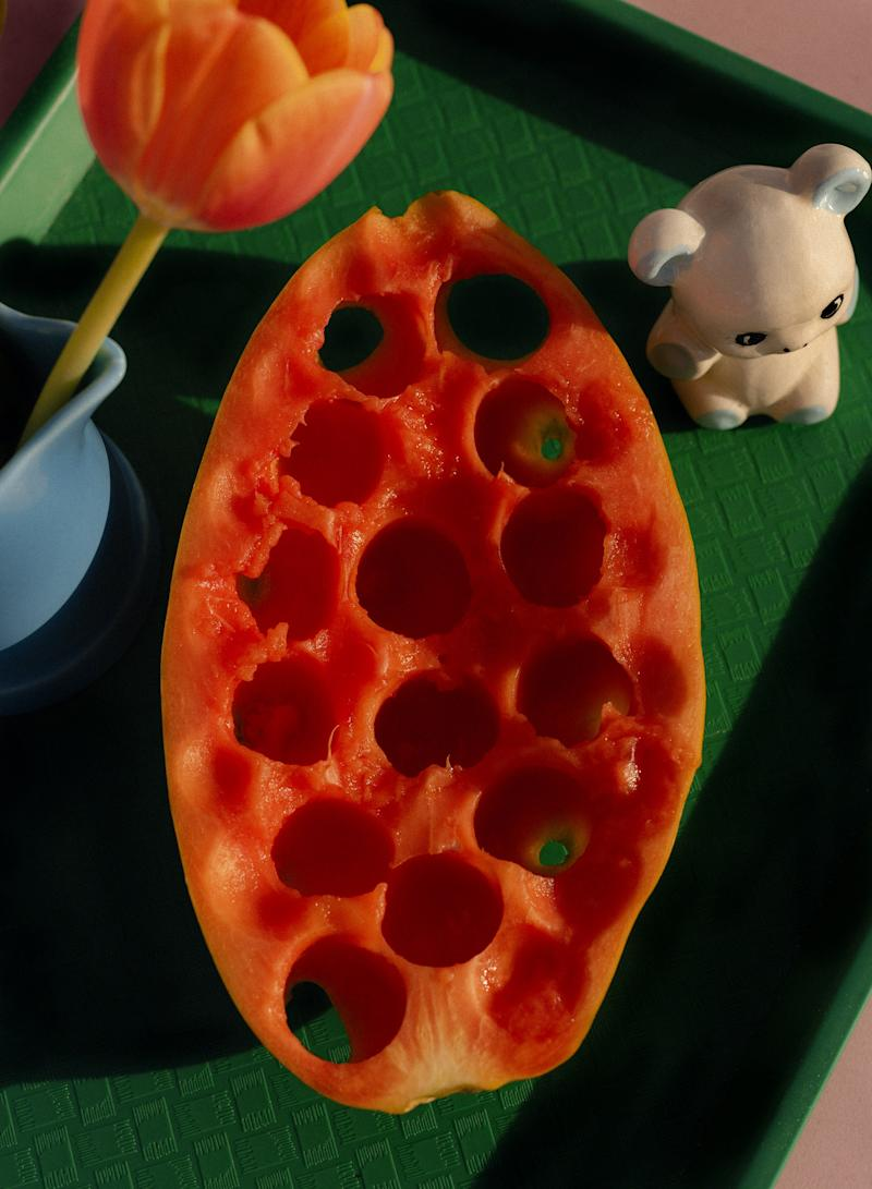 A papaya, one of the thematic ingredients of the Active Cultures dinner.