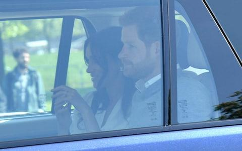 Prince Harry and Meghan Markle arrive for Wedding rehearsals today in Windsor - Credit: Karwai Tang