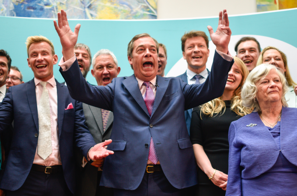 """Just weeks after the party was set up, the Brexit Party - led by Nigel Farage - stormed to first place in the May European elections. The Lib Dems also did very well on a Remain ticket - but <a href=""""https://uk.finance.yahoo.com/news/can-lib-dems-win-manifesto-labour-tactical-vote-cambridge-remain-cities-general-election-uk-jo-swinson-094410450.html"""" data-ylk=""""slk:neither party made gains;outcm:mb_qualified_link;_E:mb_qualified_link;ct:story;"""" class=""""link rapid-noclick-resp yahoo-link""""><strong>neither party made gains</strong></a> in December's General Election. (Getty)"""
