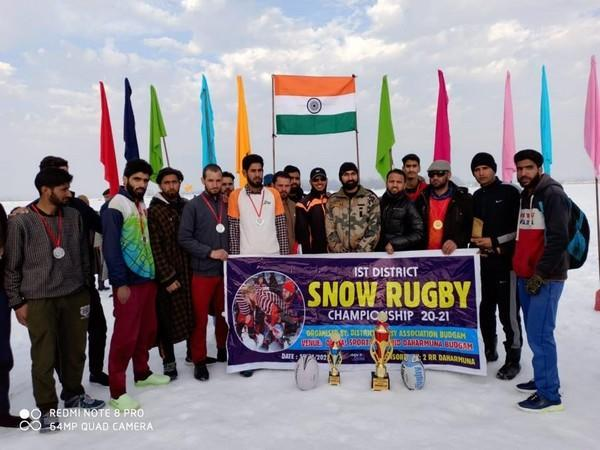 Teams from Budgam, Pulwama, Anantnag, Kupwara, Baramulla and other far-flung areas participated in the Snow Rugby championship in Kashmir. (Photo/ANI)