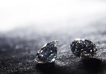 Pair of diamonds are seen on display at Serendip Jewellers in the Hatton Garden Jewellery Emporium in London