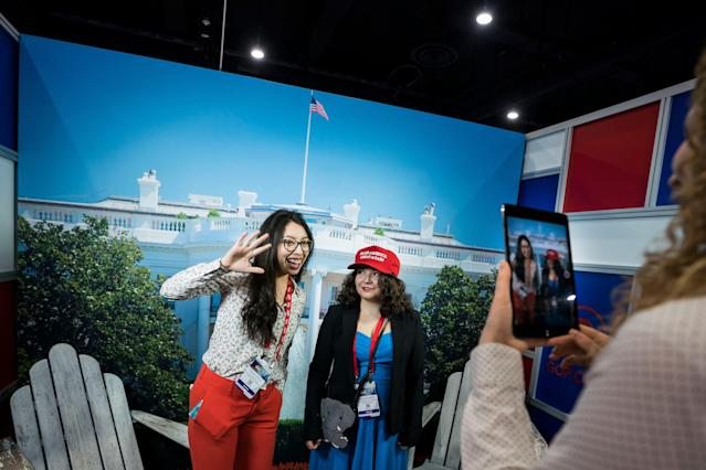 <p>Conservative Political Action Conference (CPAC) attendees Carolina Cisneros (L) and Abigail Brookshire (R) pose for a photograph at the 45th annual conference at the Gaylord National Resort & Convention Center in National Harbor, Md., Feb. 22, 2018. (Photo: Jim Lo Scalzo/EPA-EFE/REX/Shutterstock) </p>