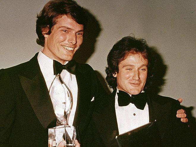 """By the '70s, he took that talent to New York City's prestigious Juilliard School. There, he befriended classmate Christopher Reeve (here with Williams at the 1979 People's Choice Awards). """"I'd sit back and hope to catch the girls that were downstream,"""" he <a href=""""http://www.people.com/people/archive/article/0,,20325560,00.html"""">later joked to PEOPLE</a>."""