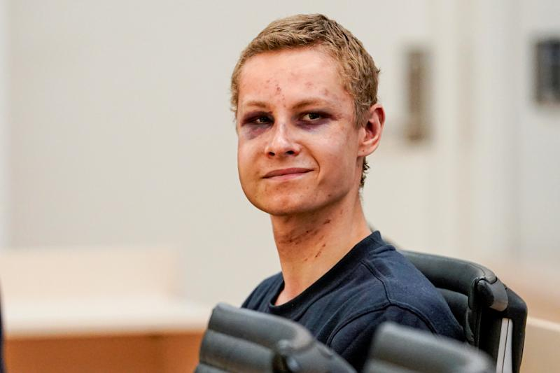 Philip Manshaus, who is suspected of an armed attack at Al-Noor Islamic Centre Mosque and killing his stepsister, appears in court in Oslo, Norway smirking.