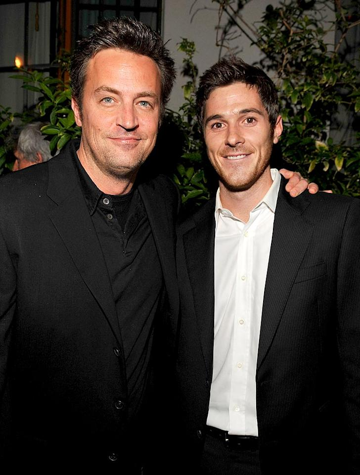 "Matthew Perry and Dave Annable (""Brothers & Sisters"") get chummy at the famed Chateau Marmont. Lester Cohen/<a href=""http://www.wireimage.com"" target=""new"">WireImage.com</a> - December 5, 2007"