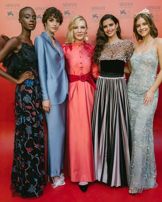 Armani beauty's Global Beauty Ambassador Cate Blanchett with Armani beauty faces Madisin Rian, Greta Ferro, Sara Sampaio and Barbara Palvin at the exclusive dinner Armani beauty hosted in Venice to honor cinematography during the 76th Venice International Film Festival. Credits: Armani beauty