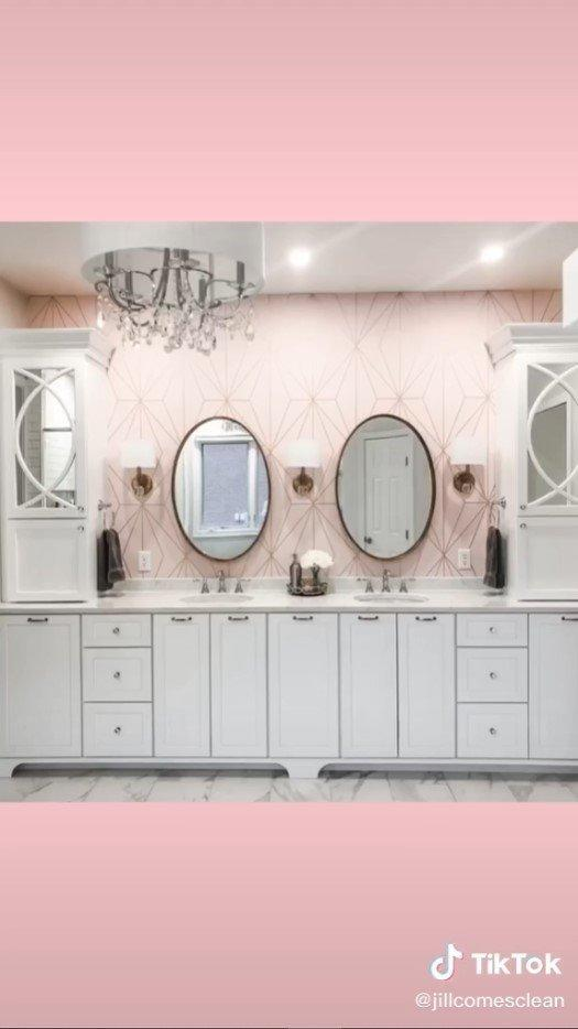 Pink bathrooms are all the rage on TikTok in 2021.