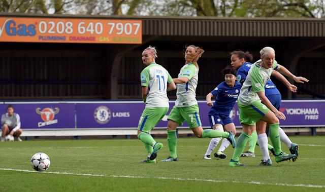 Soccer Football - Women's Champions League Semi Final First Leg - Chelsea v VfL Wolfsburg - The Cherry Red Records Stadium, London, Britain - April 22, 2018 Chelsea's Ji So-Yun scores their first goal Action Images via Reuters/Adam Holt