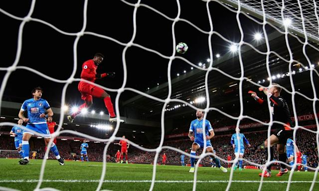 "<span class=""element-image__caption"">Divock Origi climbs highest to score Liverpool's second goal.</span> <span class=""element-image__credit"">Photograph: Clive Brunskill/Getty Images</span>"