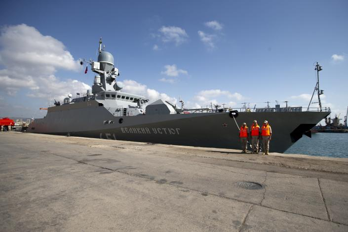 Russian navy missile ship 'Veliky Ustyug' prepare to sail off from the Russian naval facility in Tartus, Syria, on patrol in eastern Mediterranean, Thursday, Sept. 26, 2019. Russia has a naval base in Tartus, the only such facility it has outside the former Soviet Union. (AP Photo/Alexander Zemlianichenko)