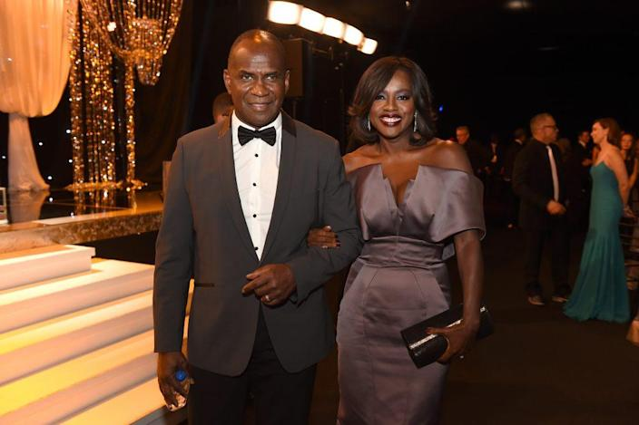 Actors Julius Tennon (L) and Viola Davis attend The 22nd Annual Screen Actors Guild Awards at The Shrine Auditorium on January 30, 2016, in Los Angeles, California. (Photo by Kevin Winter/Getty Images for Turner)
