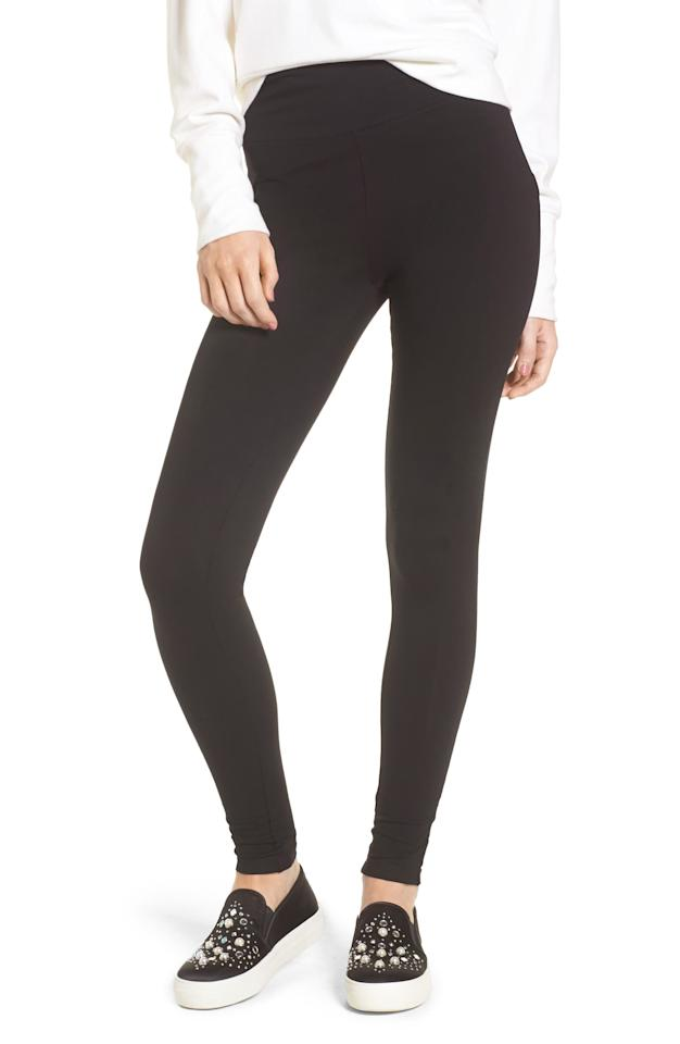 "I don't wear leggings a lot, but I love my trusted pair from Nordstrom that I bought years ago. They have lasted through hundreds of washes and aren't see through. They're the best and aren't expensive either. —<em><a href=""https://www.instagram.com/khalihaina/"" rel=""nofollow"">Khaliha Hawkins</a>, producer</em> $19, Nordstrom. <a href=""https://shop.nordstrom.com/s/bp-high-rise-leggings/4687341?origin=keywordsearch-personalizedsort&breadcrumb=Home%2FAll%20Results&color=black"">Get it now!</a>"