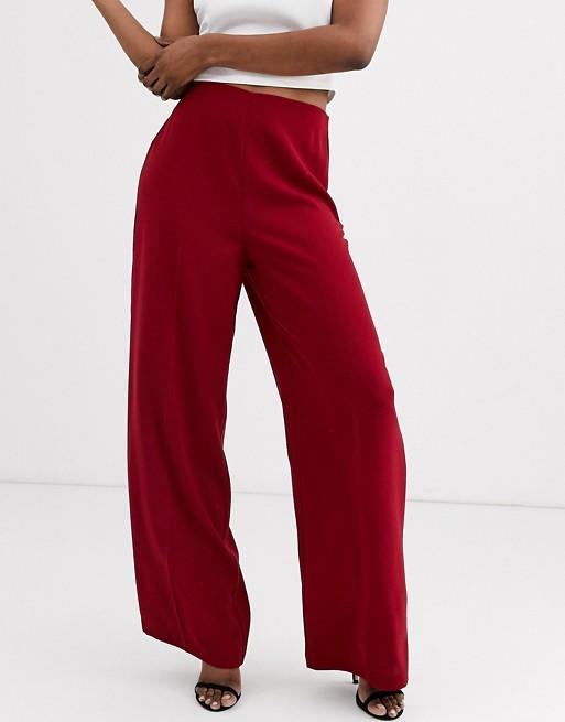 Asos Design wide leg pants with clean high waist. (Credit: Asos)