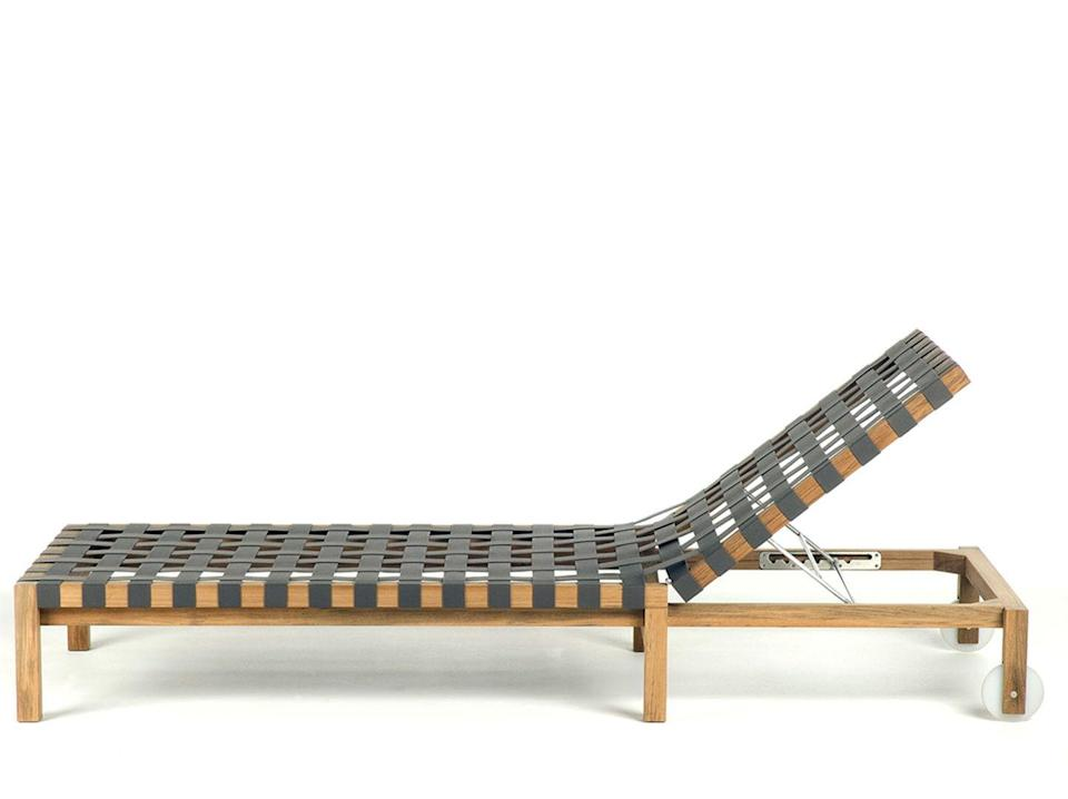 """<p>Designed by Rodolfo Dordoni for al fresco experts Roda, this sun lounger looks elegant in teak and olive-hued woven belts, but it's a tough cookie. Teak is a wood that will withstand corrosion and the fabric chosen is both soft, but brilliantly weather resistant. £2,091, <a href=""""https://www.conranshop.co.uk/mistral-104-teak-sunlounger-77x202x21cm-olive.html"""" rel=""""nofollow noopener"""" target=""""_blank"""" data-ylk=""""slk:conranshop.co.uk"""" class=""""link rapid-noclick-resp"""">conranshop.co.uk</a></p>"""