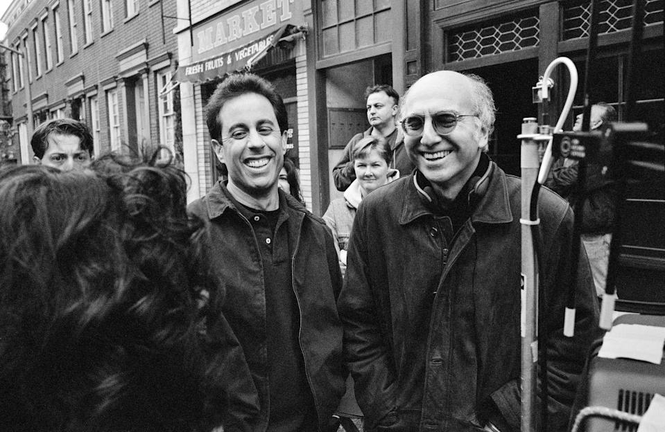 """<p>Seinfeld turned to <em>Saturday Night Live </em>writer, <a href=""""https://www.biography.com/performer/jerry-seinfeld"""" rel=""""nofollow noopener"""" target=""""_blank"""" data-ylk=""""slk:Larry David"""" class=""""link rapid-noclick-resp"""">Larry David</a>, when he was given the opportunity from NBC to develop a sitcom. Together the two created the show and worked on it together until <a href=""""https://www.denofgeek.com/tv/seinfeld-from-flop-to-acclaimed-hit/"""" rel=""""nofollow noopener"""" target=""""_blank"""" data-ylk=""""slk:David left after season seven"""" class=""""link rapid-noclick-resp"""">David left after season seven</a>, only to return for the finale in 1998.</p>"""