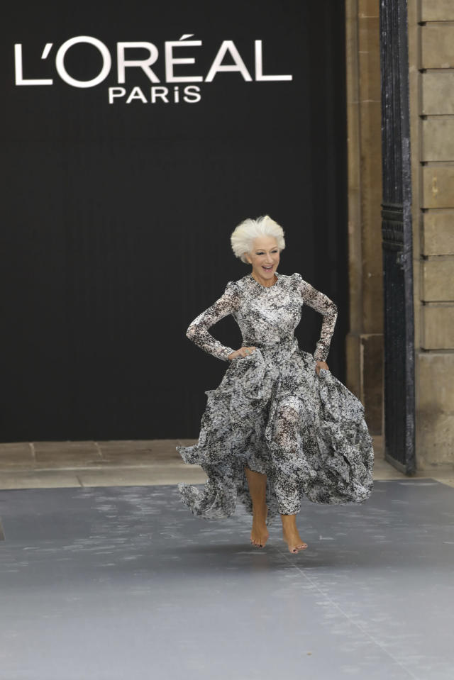 Actress Dame Helen Mirren wears a creation as part of the L'Oreal Ready To Wear Spring-Summer 2020 collection, unveiled during the fashion week, in Paris, Saturday, Sept. 28, 2019. (Photo by Vianney Le Caer/Invision/AP)