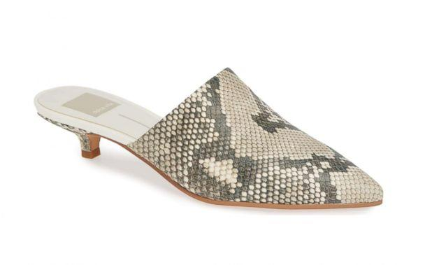 PHOTO: While everyone is going wild for leopard, we suggest a softer, chicer version of the wild look. This snakeskin mule is sexy without trying. (Nordstrom)