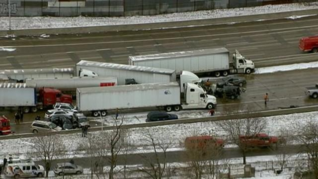 Fatal pileup on I-75 in Detroit, MI.