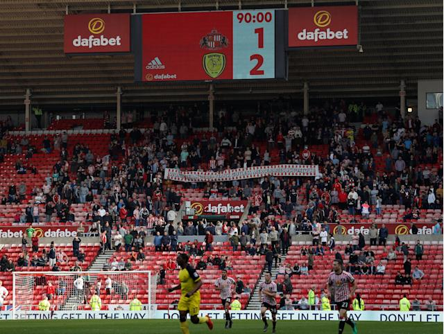 "Soccer Football - Championship - Sunderland v Burton Albion - Stadium of Light, Sunderland, Britain - April 21, 2018 General view during the game Action Images/Lee Smith EDITORIAL USE ONLY. No use with unauthorized audio, video, data, fixture lists, club/league logos or ""live"" services. Online in-match use limited to 75 images, no video emulation. No use in betting, games or single club/league/player publications. Please contact your account representative for further details."