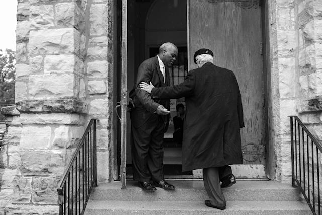 <p>Spencer Leak Sr enters at funeral at the Union Tabernacle Missionary Baptist Church on Chicago's south side. (Photo: Jon Lowenstein/NOOR for Yahoo News) </p>