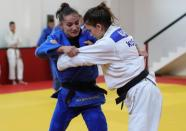 Member of Kosovo Judo national team exercises during a training session at the Ippon judo club in Peja