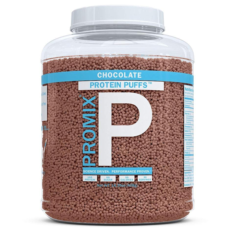 """<p>These <product href=""""https://www.amazon.com/ProMix-Nutrition-Unflavored-Protein-Puffs/dp/B088KSZQDW?ref_=ast_sto_dp&amp;th=1"""" target=""""_blank"""" class=""""ga-track"""" data-ga-category=""""Related"""" data-ga-label=""""https://www.amazon.com/ProMix-Nutrition-Unflavored-Protein-Puffs/dp/B088KSZQDW?ref_=ast_sto_dp&amp;th=1"""" data-ga-action=""""In-Line Links"""">ProMix Nutrition Chocolate-Flavored Protein Puffs</product> ($20) are like adult cocoa puffs, and we're in love. They've got only two grams of net carbohydrates per serving.</p>"""