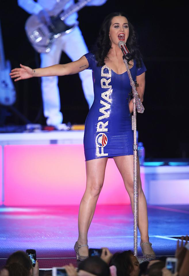 Katy Perry performs at a campaign rally for President Barack Obama at the Delta Center on November 3, 2012 in Milwaukee, Wisconsin. (Photo by Scott Olson/Getty Images)