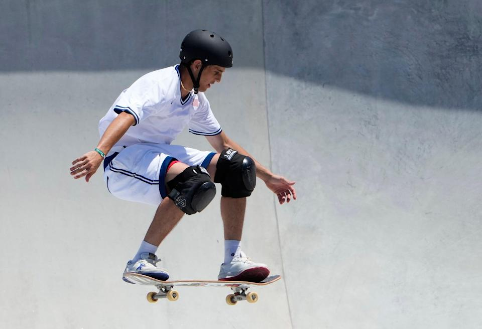 Cory Juneau in the men's skateboarding park prelims during the Tokyo 2020 Olympic Summer Games.