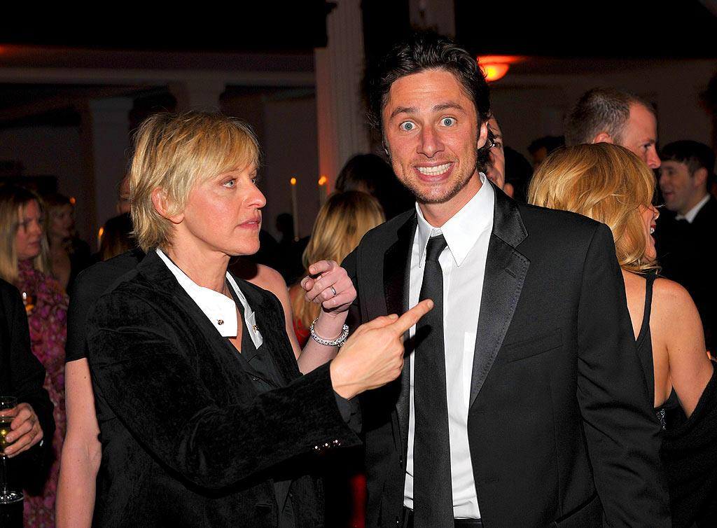 """Ellen DeGeneres and Zach Braff get goofy at the formal affair. Lester Cohen/<a href=""""http://www.wireimage.com"""" target=""""new"""">WireImage.com</a> - January 12, 2008"""