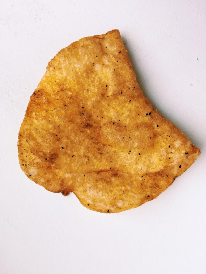 """<p><b>Smell: </b>Very smoky.<b>Taste:</b> This chip tastes""""straight off the grill,"""" as one editor put it, having the surprisingly spot-on flavor of a flame-grilled hamburger or steak. One editor said this""""tastes like summer,"""" while, ironically, our vegetarian editor asked for seconds and thirds, exclaiming,""""This is delicious!"""" A smoky, meaty taste you can get in chip form? We're sold.<b>Our Flavor Prediction:</b>New — Flame-Grilled Rib-Eye</p>"""