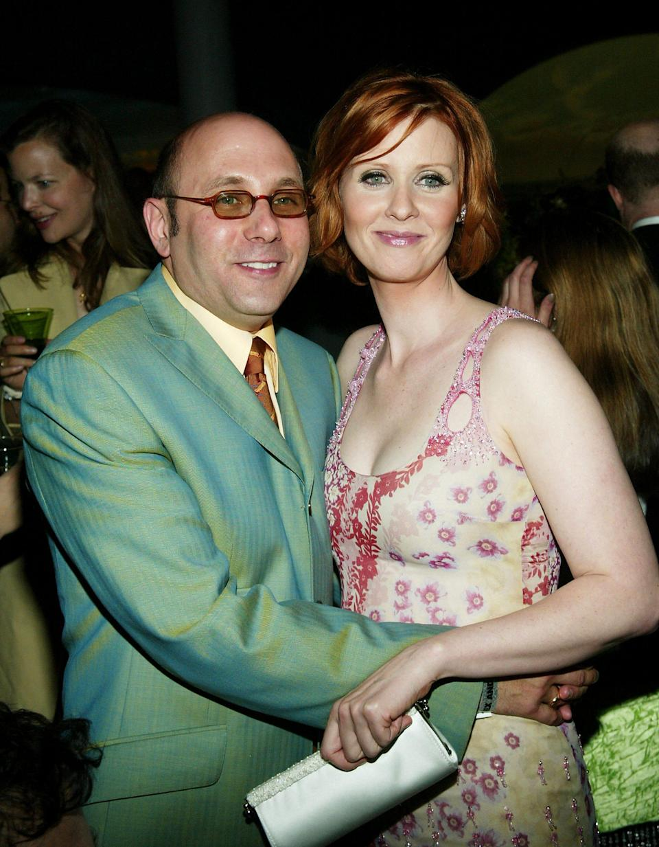 """Willie Garson and Cynthia Nixon attend HBO'S """"Sex and The City"""" season premiere screening after-party at the American Museum of Natural History in 2003."""