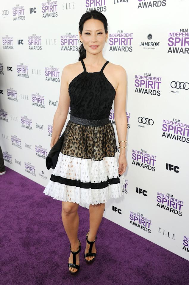 SANTA MONICA, CA - FEBRUARY 25:  Actress Lucy Liu arrives at the 2012 Film Independent Spirit Awards on February 25, 2012 in Santa Monica, California.  (Photo by Kevin Winter/Getty Images)