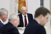 Belarusian President Alexander Lukashenko attends a meeting in Minsk, Belarus, Tuesday, Oct. 27, 2020. (Nikolai Petrov/BelTA Pool Photo via AP)