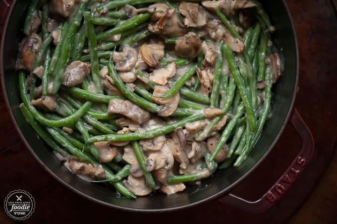 """<p>This recipe keeps it easy and classic, so the beans are the stars.</p> <p><b>Get the recipe:</b> <a href=""""https://selfproclaimedfoodie.com/perfect-green-bean-casserole/"""" class=""""link rapid-noclick-resp"""" rel=""""nofollow noopener"""" target=""""_blank"""" data-ylk=""""slk:perfect green bean casserole"""">perfect green bean casserole</a></p>"""