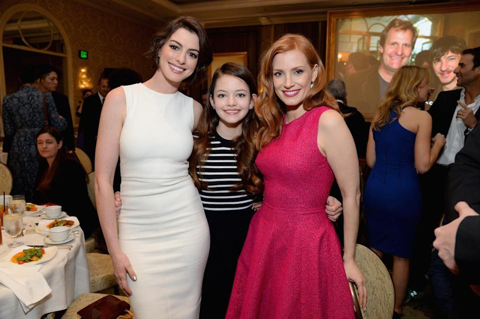 "Anne Hathaway, Mackenzie Foy, and Jessica Chastain all wear their best ""ladies who lunch"" looks."