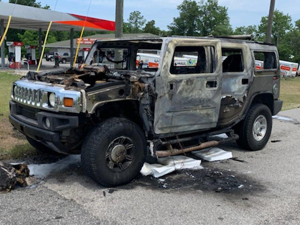 A Hummer carrying four cans of gas burst into flames just after filling up north of Tampa, Florida on 12 May, 2021.  (Citrus County Fire Rescue)