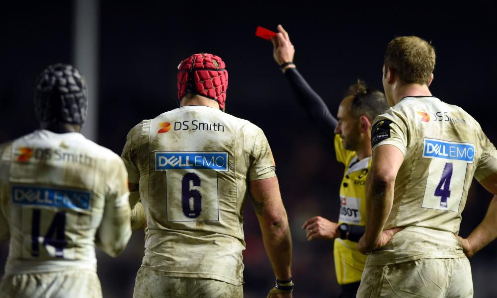 James Haskell, the Wasps No6, is sent off for a dangerous tackle on Harlequins' Jamie Roberts