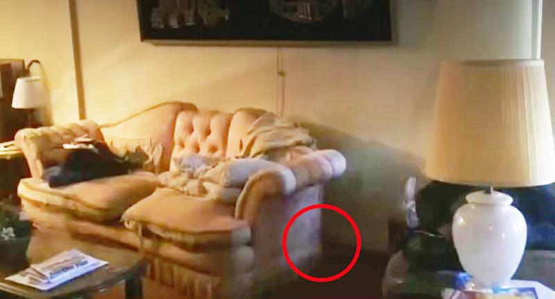 A photo of the couch with a red circle around the area where Jim Dow found the envelopes full of money.