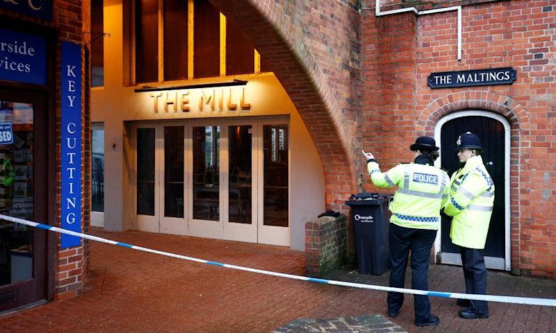 Police officers outside the Mill pub in Salisbury