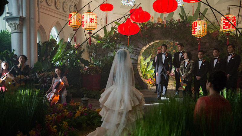 The wedding scene in the film was completely shot at the Chijmes church and not on a built set. Source: Roadshow Films, The ultimate Crazy Rich Asians guide to Singapore