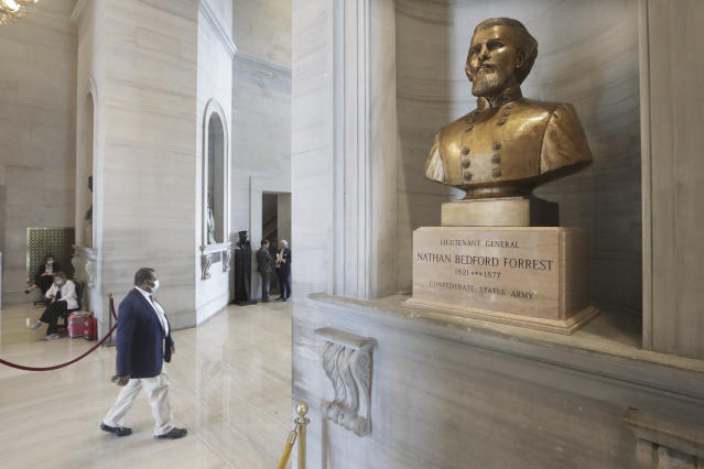 A bust of Nathan Bedford Forrest is displayed in the Tennessee State Capitol Tuesday, June 9, 2020, in Nashville, Tenn. Tennessee lawmakers remain torn on whether to support a proposal for the removal of a contentious bust of the former Confederate general and early leader of the Ku Klux Klan. (AP Photo/Mark Humphrey)