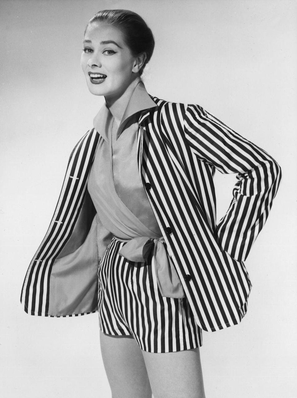 <p>A model sporting a striped summer shorts suit.</p>