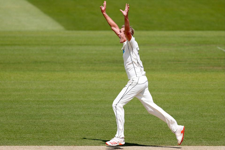 Kyle Jamieson celebrates a wicket in the Lord's Test (AFP via Getty Images)
