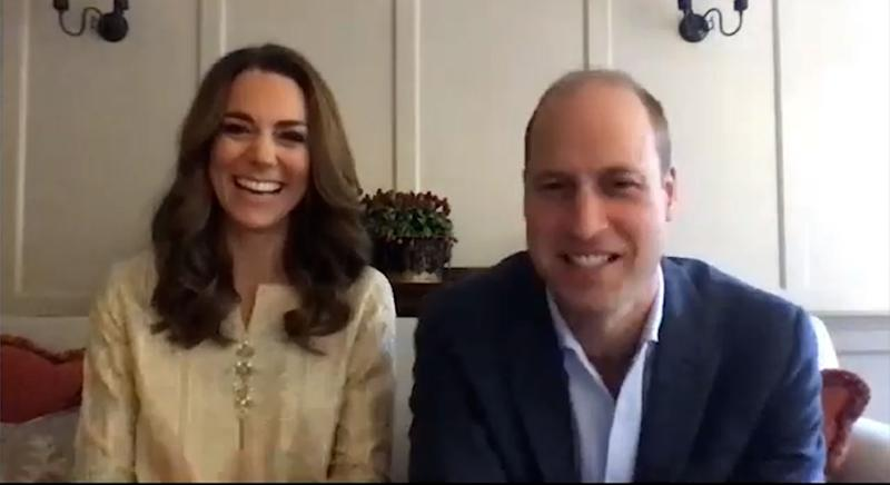 Kensington Palace undated handout photo of the Duke and Duchess of Cambridge during their video call with Islamabad Model College for Girls in in Lahore to mark one year since the couple's visit to Pakistan.