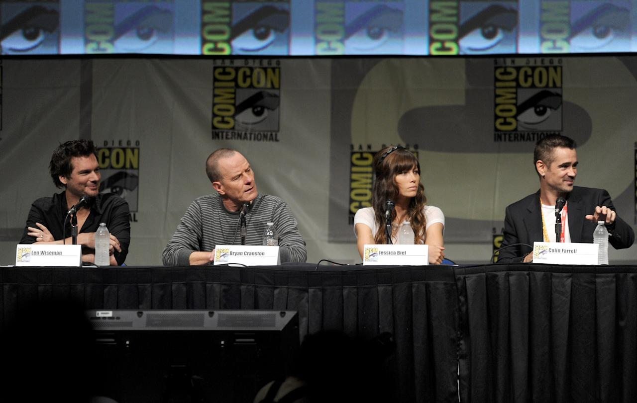 """SAN DIEGO, CA - JULY 13:  (L-R) Director Len Wiseman, actors Bryan Cranston, Jessica Biel, and Colin Farrell speak during Sony's """"Total Recall"""" panel during Comic-Con International 2012 at San Diego Convention Center on July 13, 2012 in San Diego, California.  (Photo by Kevin Winter/Getty Images)"""